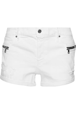 RTA Vincent zip-embellished distressed denim shorts