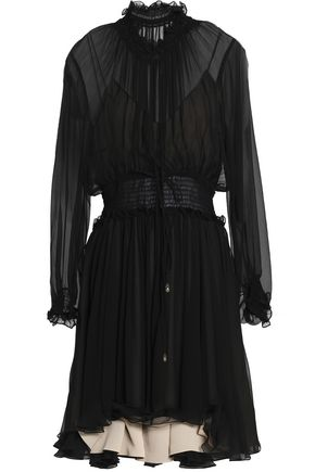 CHLOÉ Shirred ruffled silk-gauze dress