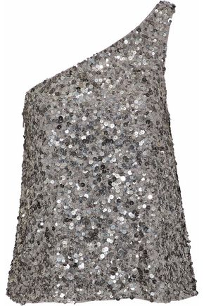 JOIE One-shoulder sequined gauze top