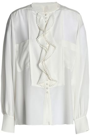 CHLOÉ Pompom-embellished ruffled silk shirt