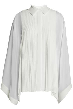 CHLOÉ Chiffon-paneled pleated crepe de chine shirt