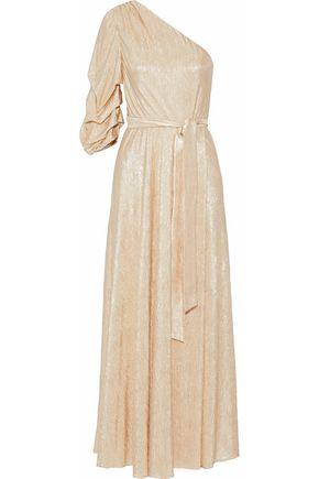 ALICE + OLIVIA One-shoulder metallic cloqué gown