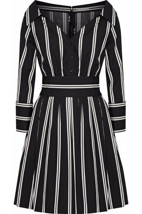 ALICE + OLIVIA Striped cotton mini shirt dress