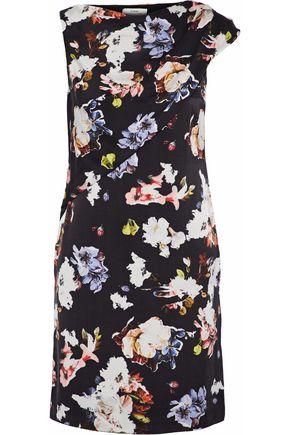 ERDEM Bessie gathered floral-print washed-silk mini dress