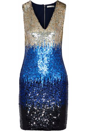 ALICE + OLIVIA JEANS Nat color-block sequined mesh mini dress