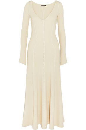 Ribbed Wool Blend Midi Dress by Alexander Mcqueen