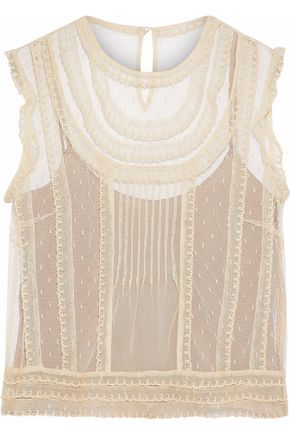 REDValentino Pintucked point d'esprit top