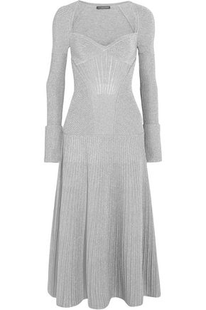 ALEXANDER MCQUEEN Ribbed metallic wool-blend midi dress
