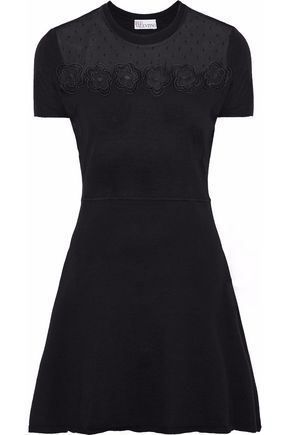 REDValentino Embroidered point d'esprit-paneled wool mini dress