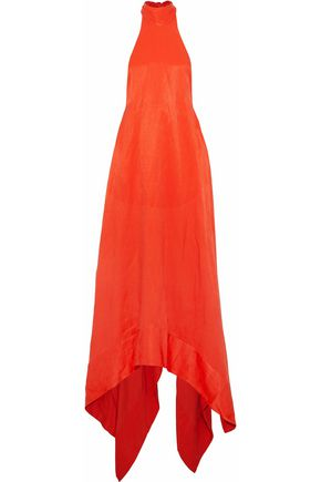 SOLACE LONDON Asymmetric cady halterneck gown
