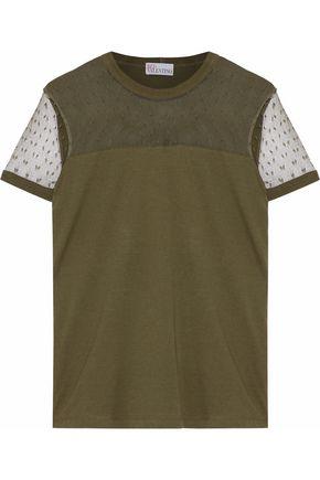 REDValentino Point d'esprit-paneled cotton-jersey T-shirt