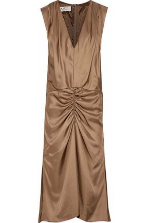 MARNI Ruched satin midi dress