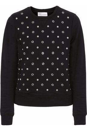 REDValentino Embellished French cotton-terry sweatshirt