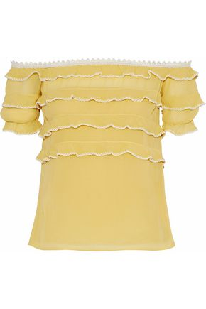REDValentino Off-the-shoulder tiered silk-chiffon blouse