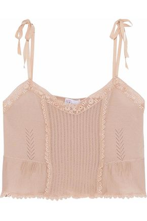 REDValentino Crochet-trimmed pointelle-knit cashmere and silk-blend top