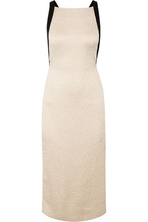 Open Back Plissé Satin Midi Dress by Jason Wu