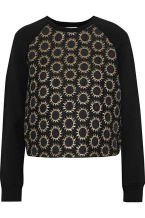 REDValentino Metallic jacquard-paneled cotton-blend fleece sweatshirt