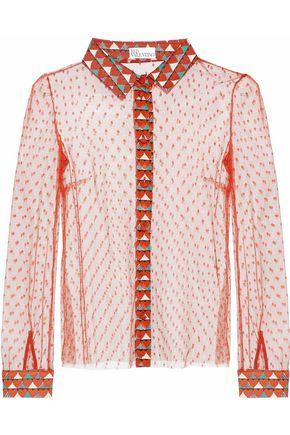 REDValentino Printed crepe de chine-trimmed point d'esprit blouse