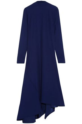 MARNI Asymmetric draped pleated crepe midi dress