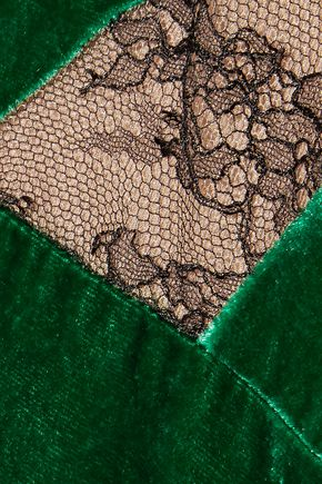 ELIE SAAB Chantilly lace-paneled crushed-velvet dress