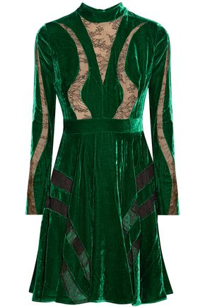 ELIE SAAB Chantilly lace-paneled crushed-velvet dress