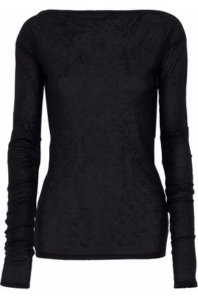 RAG & BONE Satin-trimmed ribbed-knit top