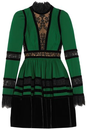 ELIE SAAB Chantilly lace, velvet and pintucked crepe mini dress