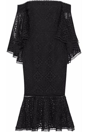 NICHOLAS Off-the-shoulder fluted guipure lace midi dress