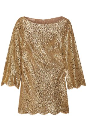 MICHAEL KORS COLLECTION Metallic corded lace blouse