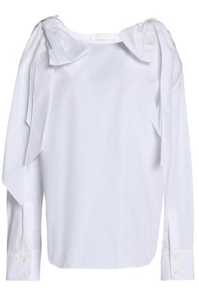 CHLOÉ Cold-shoulder draped cotton top