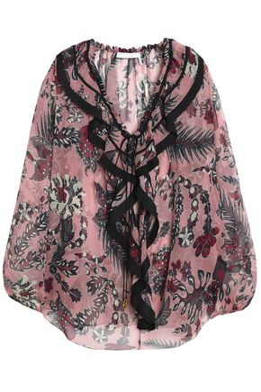 CHLOÉ Ruffle-trimmed printed silk-georgette top