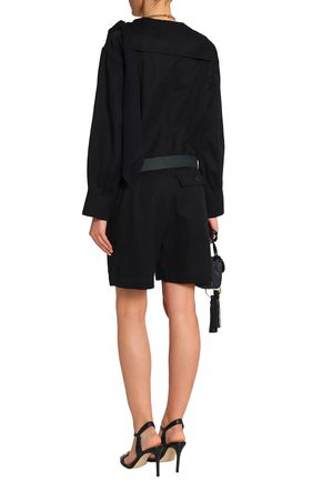 CHLOÉ Belted wool, cotton and silk-blend twill playsuit
