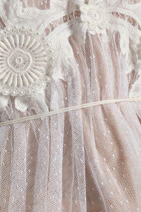 CHLOÉ Lace-appliquéd cotton-blend point d'espirit blouse