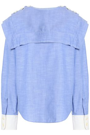 CHLOÉ Layered cotton-chambray shirt