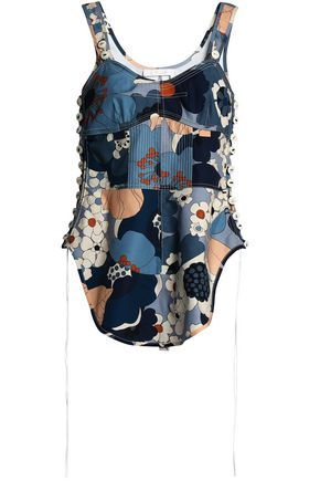 CHLOÉ Button-detailed floral-print cotton top