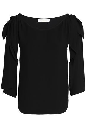 CHLOÉ Cold-shoulder crepe top