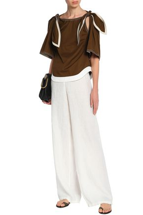 CHLOÉ Convertible bow-detailed linen and cotton-blend twill top