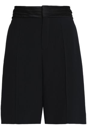CHLOÉ Satin-trimmed pleated crepe shorts