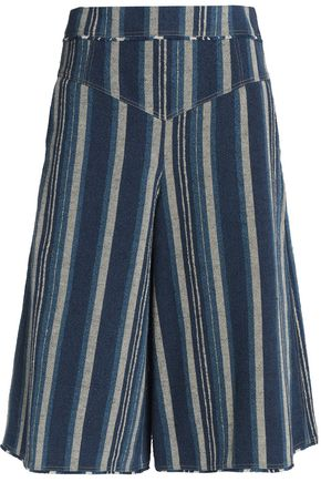 CHLOÉ Striped cotton-blend shorts
