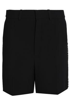CHLOÉ Pompom-embellished crepe shorts