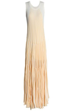 CHLOÉ Two-tone ribbed cotton-blend maxi dress