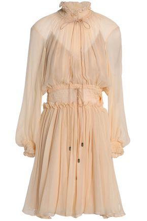 CHLOÉ Smocked silk-georgette dress