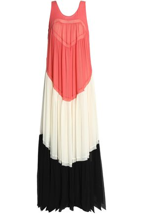 CHLOÉ Color-block silk-crepe maxi dress