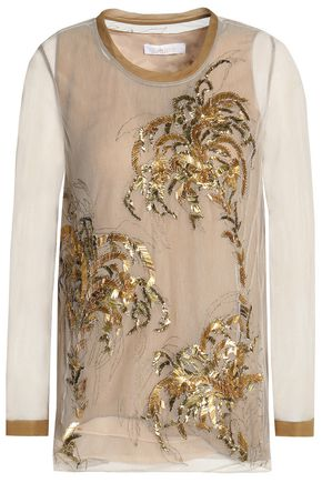 CHLOÉ Embellished cotton-blend tulle top