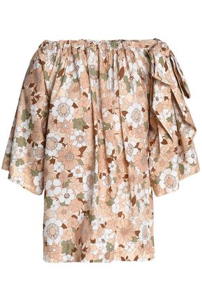 CHLOÉ Bow-detailed floral-print cotton blouse