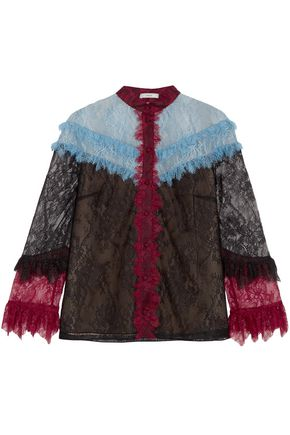 ERDEM Margery color-block corded lace blouse