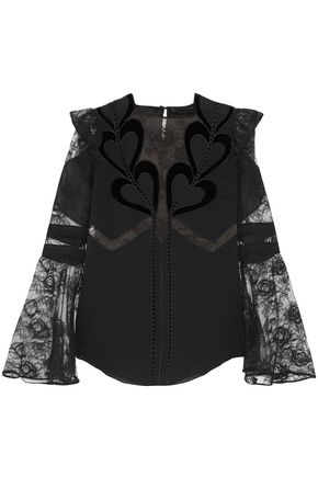 ELIE SAAB Embroidered point d'esprit-paneled velvet-trimmed chiffon blouse