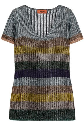 MISSONI Striped metallic ribbed-knit top