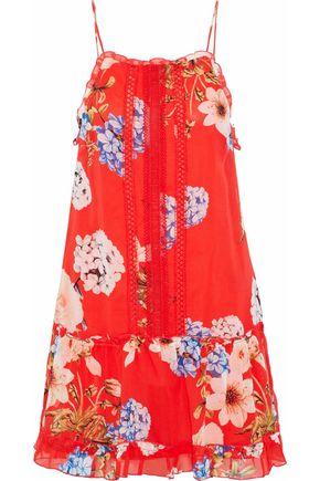 NICHOLAS Crochet-trimmed floral-print silk-chiffon mini dress