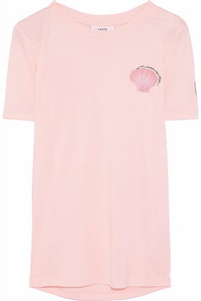 GANNI Embroidered printed jersey T-shirt
